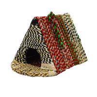 Bird house, woven recycled saris on frame, triangle