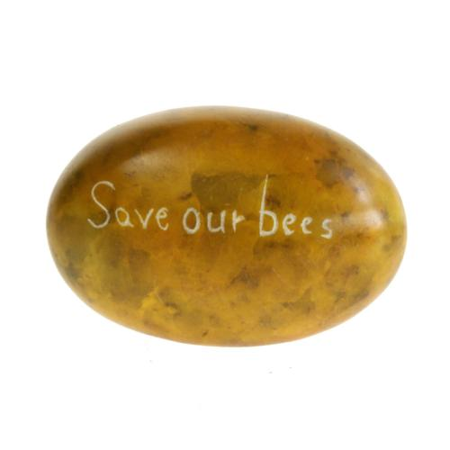 Sentiment pebble oval, Save our Bees, yellow