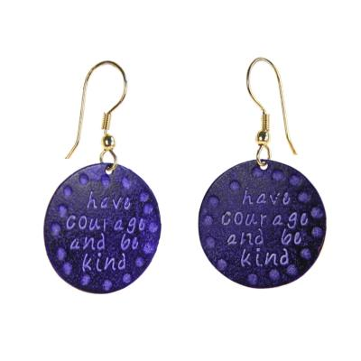 "Earrings, purple circle ""have courage"""