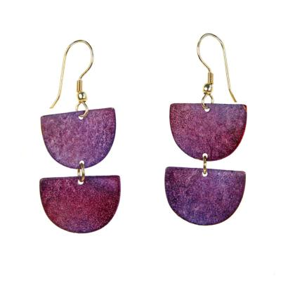 Earrings, purple 2 semi-circles
