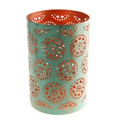 T-lite holder, metal die cut, turquoise circles, 15cm height