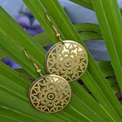 Earrings brass discs with yellow inlay