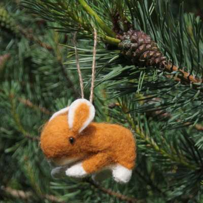 Hanging Christmas decoration, felt rabbit