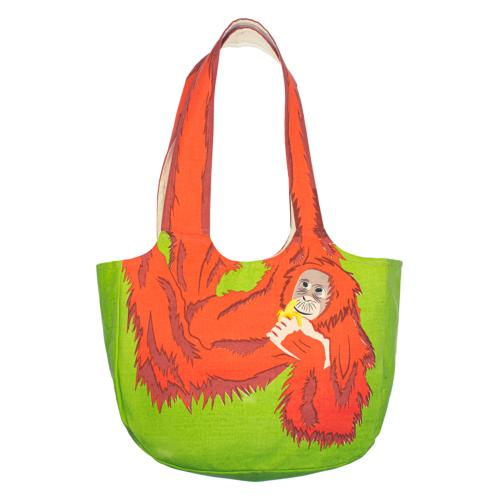 Shoulder bag, cotton, orangutan