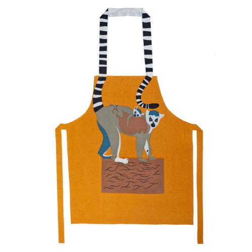 Apron, cotton, ring-tailed lemur