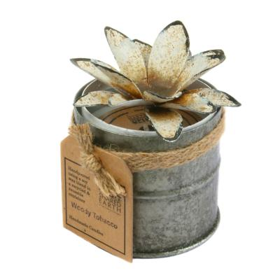 Candle in distressed recycled jar white lotus, Woody Tobacco