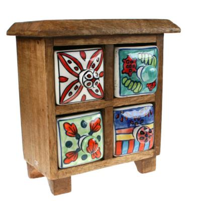 Wooden mini chest, 4 ceramic drawers