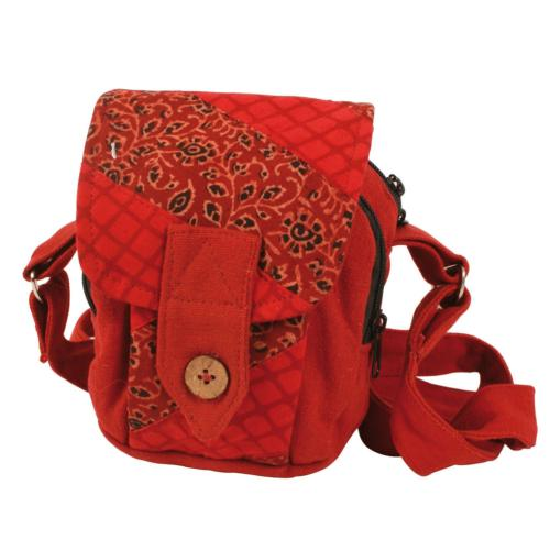 Shoulder bag, recycled fabric, assorted colours red/brown