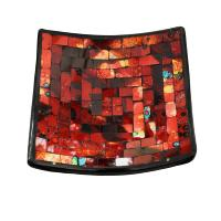 Candle plate, mosaic, 15cm red