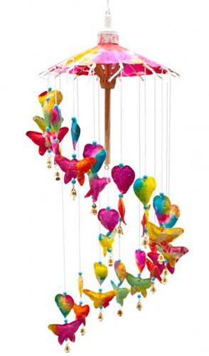 Rainbow Butterflies and Hearts Paper Mobile **