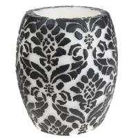 Candle pineapple damask black + white, 10cm hurricane