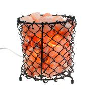 Metal grid bowl with Himalayan salt chips 17.5cm ht **