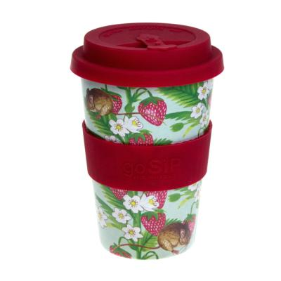 Rice husk cup 14oz, strawberries and field mouse