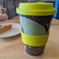 Reusable travel cup, biodegradable, paisley cosmos