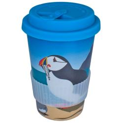 Reusable travel cup, biodegradable, puffins