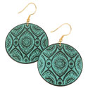 Earrings round metal light turquoise