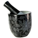 Pestle and mortar, flower and leaf design