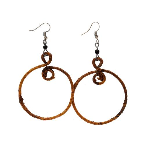 Earrings banana leaf 5cm loop brown