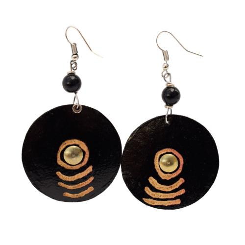 Earrings gourd circle with brass centre + bead, black