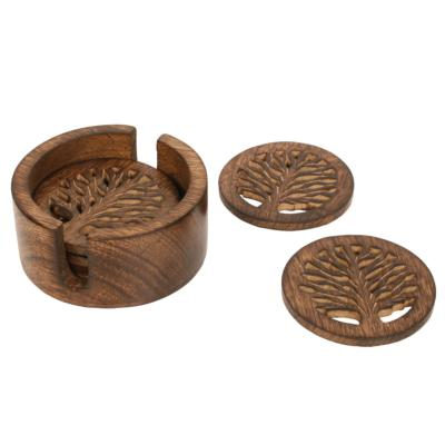 Coaster set (4) mango wood tree of life