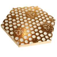 Trivet, mango wood honeycomb design