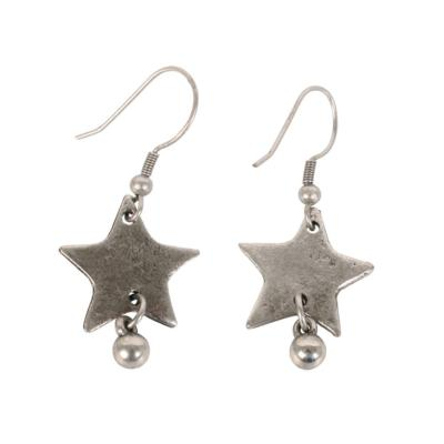 Earrings silver coloured star with bead