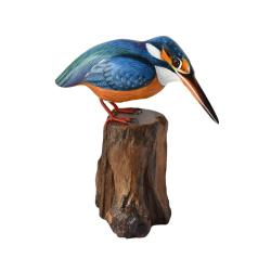 Kingfisher on tree trunk