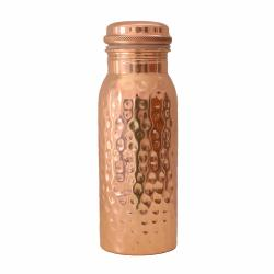 Copper water bottle, hammered, 600ml