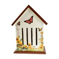 Butterfly house, white with brown roof, 30x21cm
