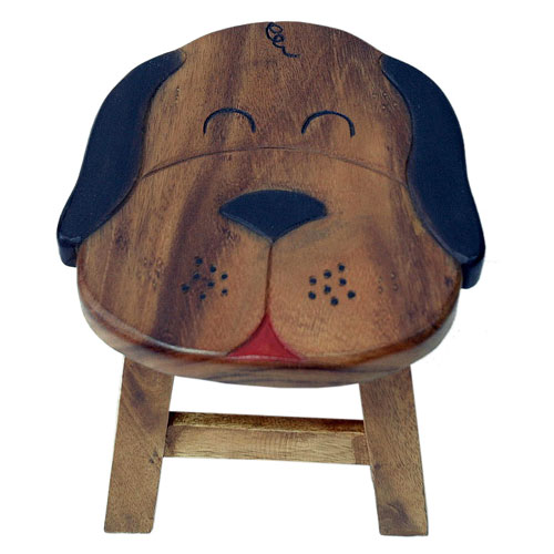 Child's wooden stool - dog