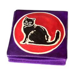 Leather coin purse cat