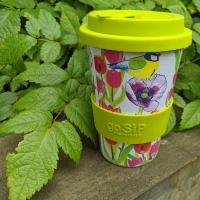 Reusable travel cup, biodegradable, blue tit and tulips