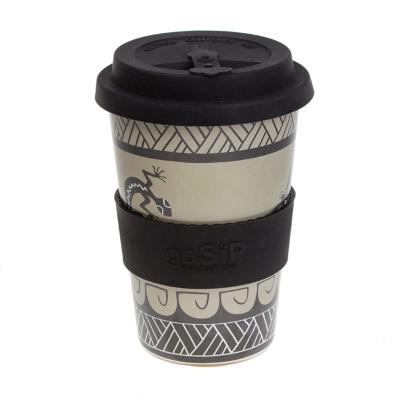Rice husk cup 14oz, gecko and dragonfly