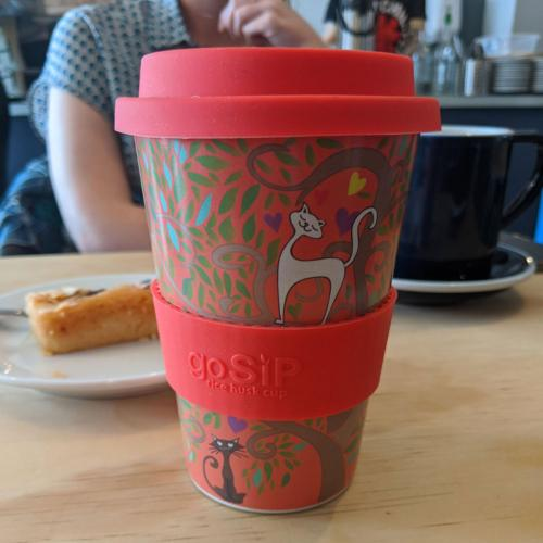 Reusable travel cup, biodegradable, tree of life - cats in love