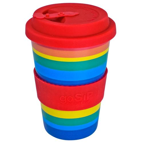 Reusable travel cup, biodegradable, rainbow