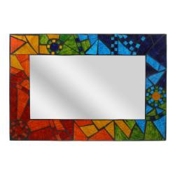 Mirror rectangle with mosaic surround 29x42cm rainbow