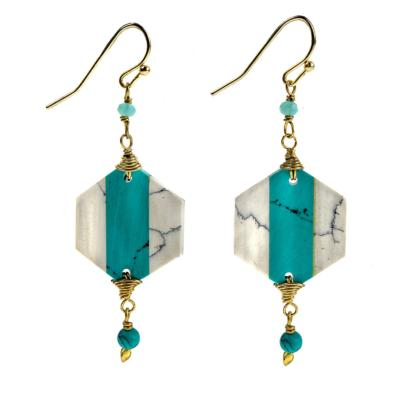 Earrings turquoise hexagon
