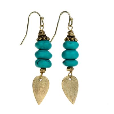 Earrings turquoise with gold colour teardrop