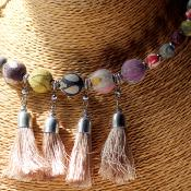 Choker, recycled cotton balls with tassels