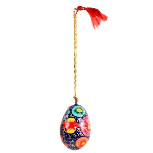 Hanging egg decoration, flowers on blue, papier maché, 4.5cm height