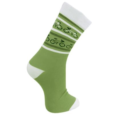 Bamboo socks, bicycles green and cream, Shoe size: UK 3-7, Euro 36-41