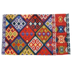 Rug indoor or outdoor, recycled plastic 80 x 120cm diamonds multicolour