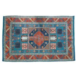 Rug indoor or outdoor, recycled plastic 120 x 180cm blue border