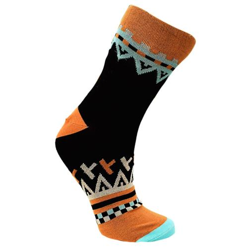 Bamboo socks, black orange, Shoe size: UK 3-7, Euro 36-41