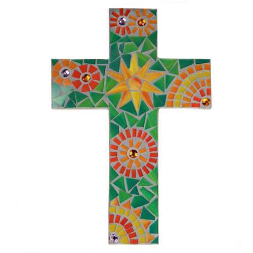 Wooden cross mosaic green yellow 20x30cm