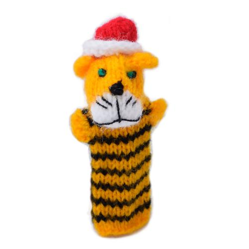 Finger puppet, tiger with Christmas hat