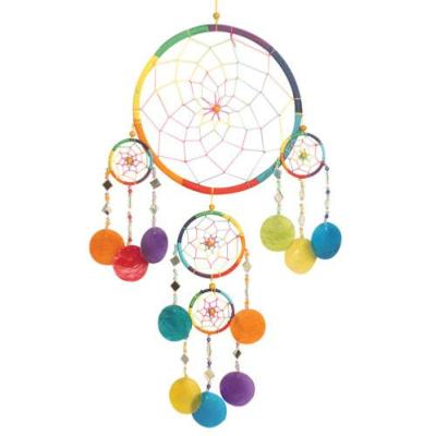 Dreamcatcher rainbow with mirrors & shells 23cm + 4