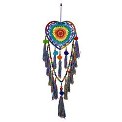 Dreamcatcher heart shape rainbow with pompoms & tassels