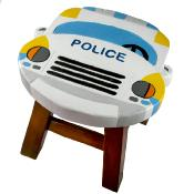 Child's wooden stool, police car