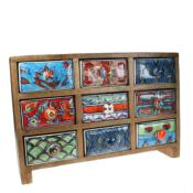 Wooden mini chest, 9 ceramic drawers